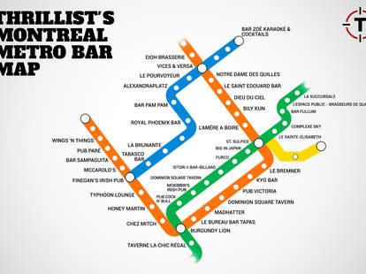 Montreal Metro Bar Map