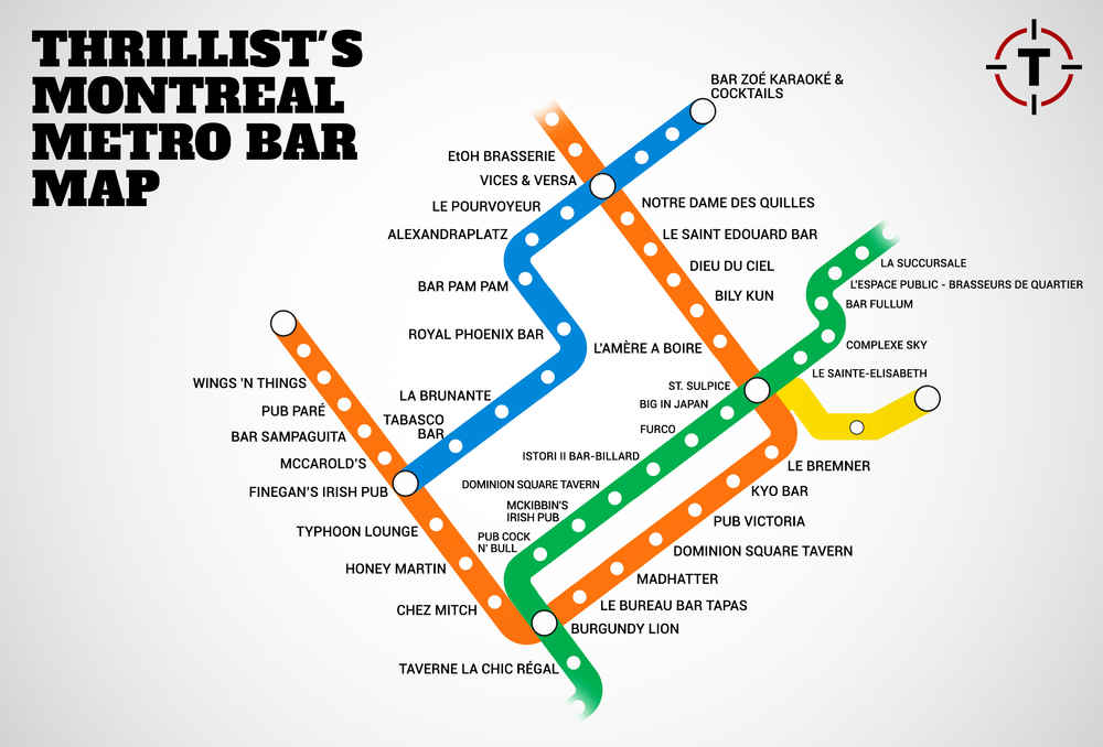 Montreal's first map of bars near the metro - Montreal Metro Bar Map on