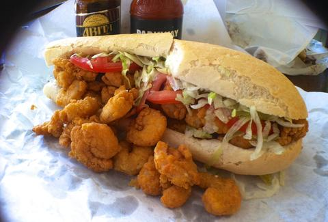 Overstuffed fried shrimp po-boy
