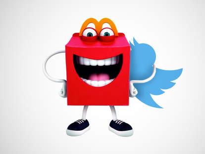 McDonald's mascot Happy with Twitter bird