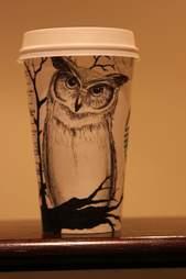 Gabriel Nkweti Lafitte Starbucks cup owl