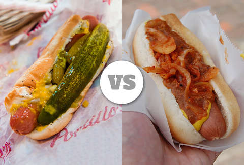 chicago and new york hot dogs