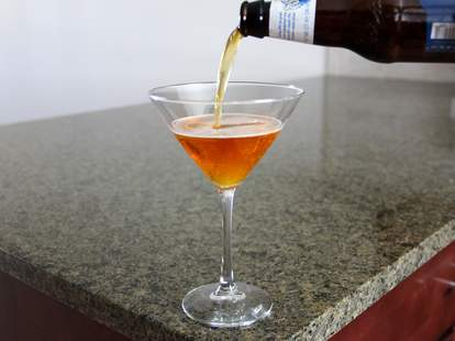 beer poured into martini glass