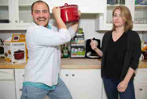 crazy man with crock-pot