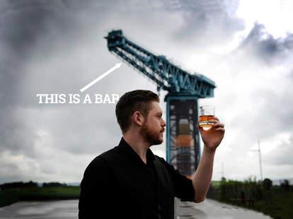 Whyte and Mackay crane whiskey bar