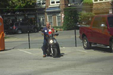 Texan on motorcycle