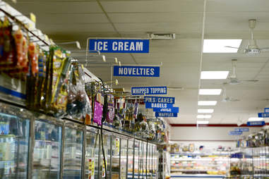 supermarket freezer aisle