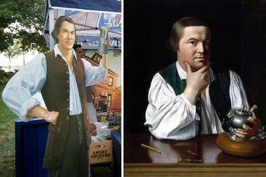 Samuel Adams beer mascot and Paul Revere
