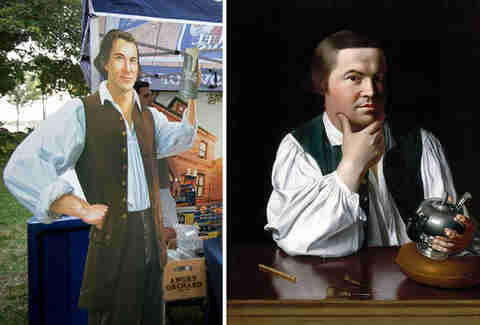 Samuel Adams beer mascot and Paul Revere