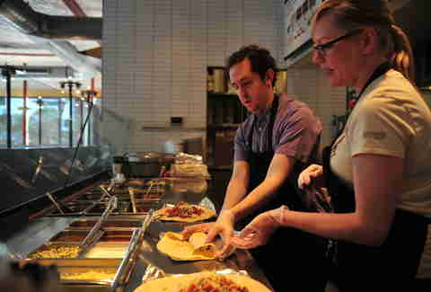 working the line at chipotle