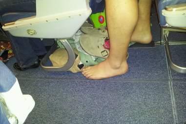Bare feet on an airplane