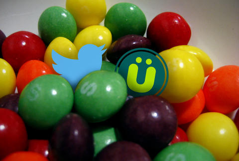 Skittles with Twitter and Uberfacts logos