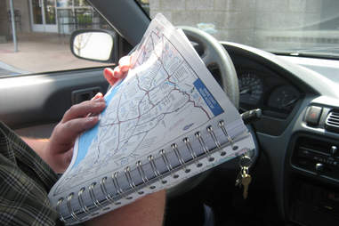 road map in car