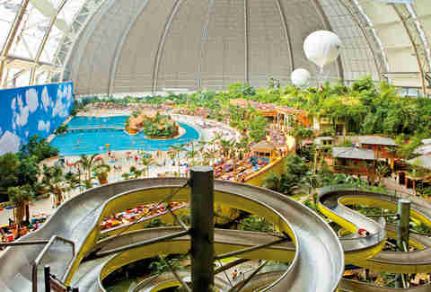 tropical islands pool and slide
