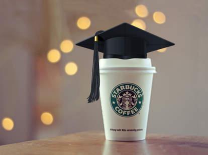 Starbucks cup with graduation cap