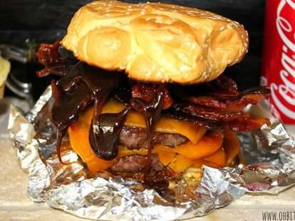 Coke-glazed bacon burgers