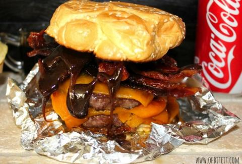 Coke-glazed bacon burgers