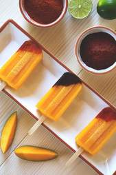 Tequila mango popsicles with chile