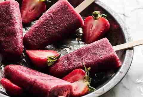 Strawberry and red wine popsicles