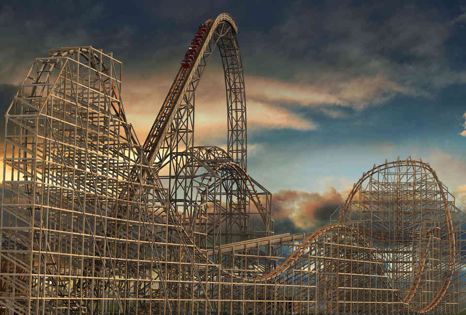 Goliath Roller Coaster Worlds Biggest Wooden Ride Opens At Six