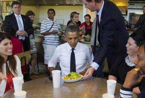 Obama eating a Chipotle burrito bowl