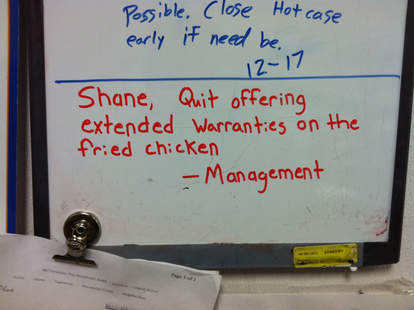 Shane Wal-Mart deli fried chicken warranty