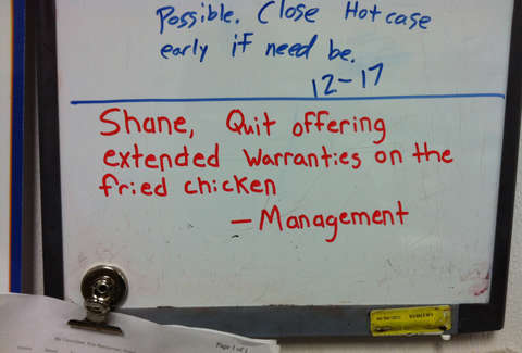 Shane Wal-Mart deli fried chicken warranty