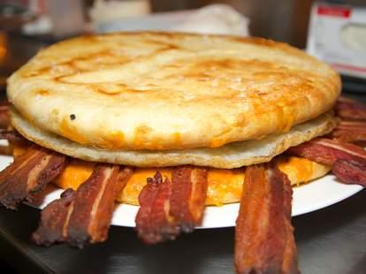 ostrich egg breakfast sandwich