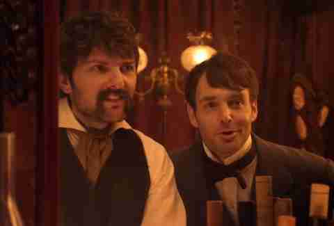 Adam Scott as John Wilkes Booth and Will Forte as Edwin Booth