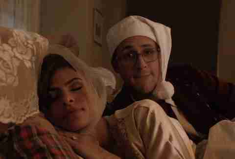 Eva Mendes and Ryan Gosling in Drunk History Christmas Special