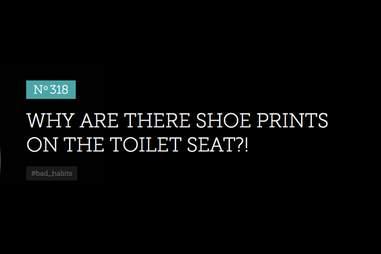 Bitter Barista shoe prints on toilet seat