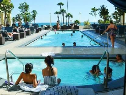 Poolside lounge at the Loews Santa Monica