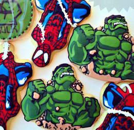 Hulk and Spider-Man cookies