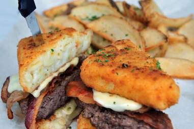 flat iron jacked burger