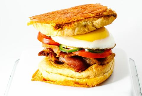 Bacon and egg grilled cheese breakfast sandwich