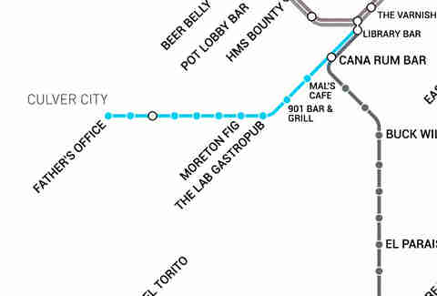 Redline Metro Map Los Angeles.La Metro Rail Map Map With Bars Near Every Stop Thrillist