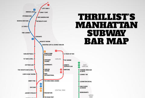 manhattans first ever subway bar map