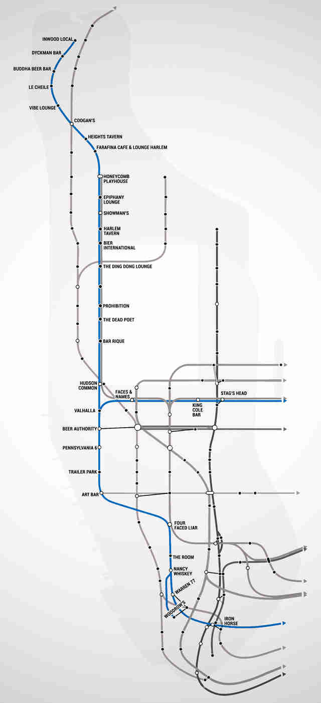 C Line Nyc Subway Map.Nyc Subway Map With Bars For Every Stop Thrillist