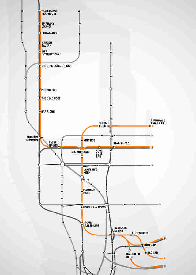 Subway Map 137 Hudson Street.Nyc Subway Map With Bars For Every Stop Thrillist
