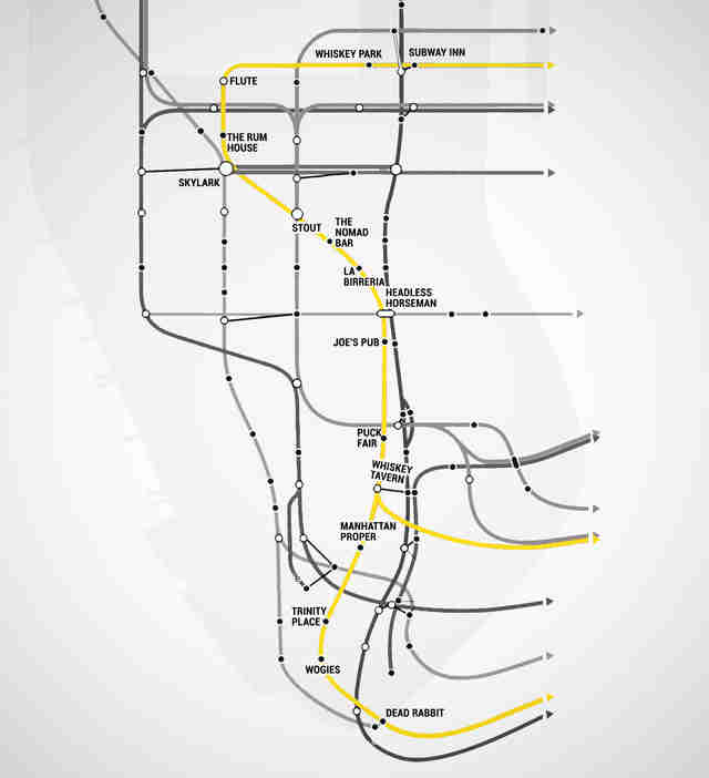 Q Line Subway Map.Nyc Subway Map With Bars For Every Stop Thrillist