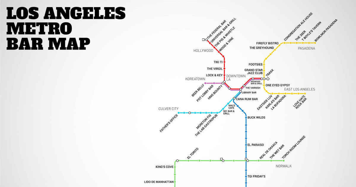 La Metro Rail Map Map With Bars Near Every Stop Thrillist