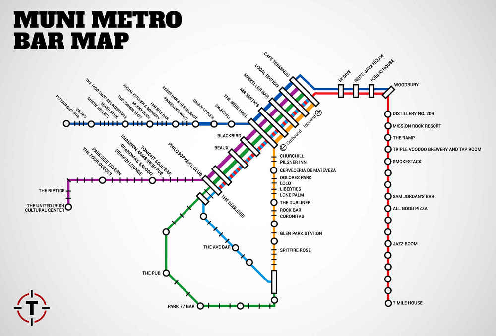 SF Muni Map With Bars Near Every Stop Thrillist