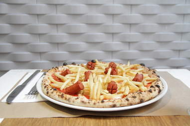 Hot dog pizza NYC