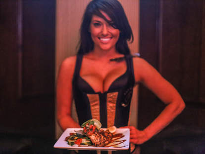 stripper holding food