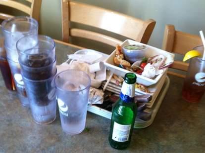 Dirty restaurant table
