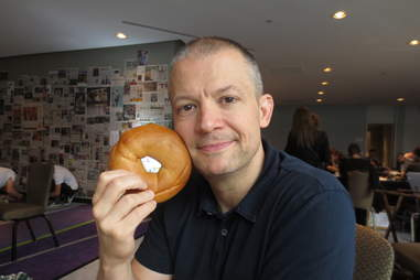 Jim Norton with a bagel