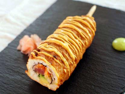 Spicy tuna roll corn dog