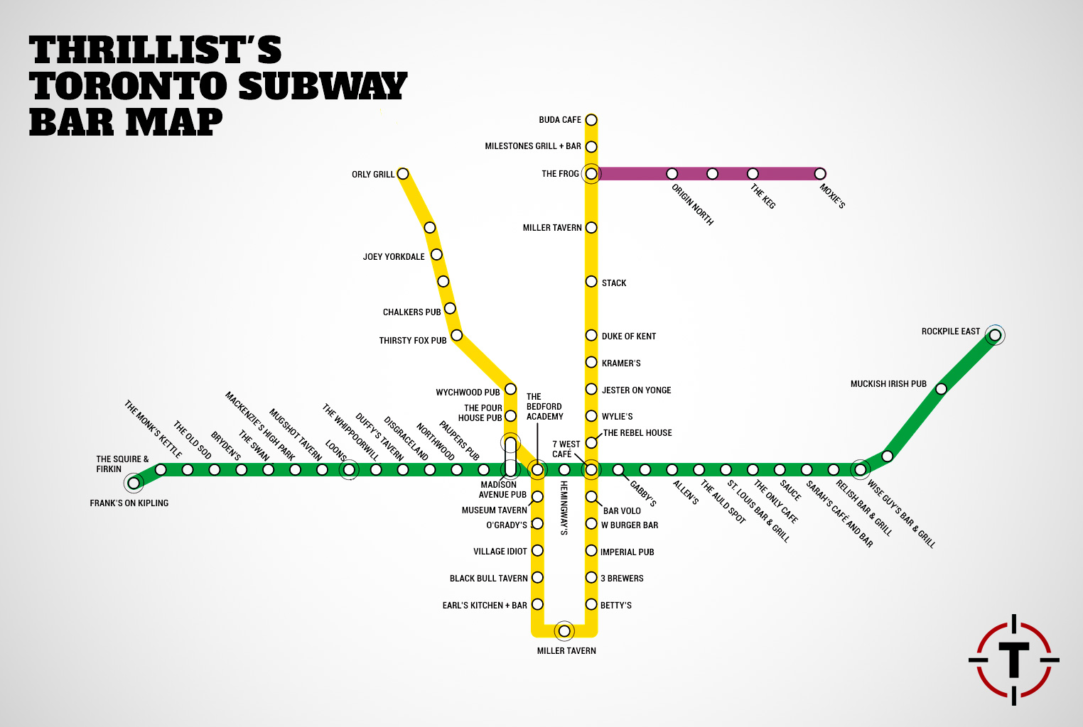 Toronto Subway Map.Toronto Subway Map With Bars For Every Stop Thrillist