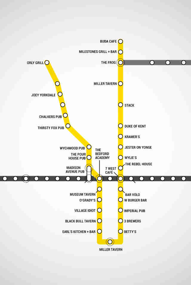 Toronto Subway Map Yonge Line.Toronto Subway Map With Bars For Every Stop Thrillist