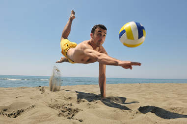 A pickup game of beach volleyball